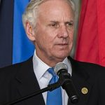 Gov. Henry McMaster, governor of South Carolina, addresses attendees during the adjutant general change of command ceremony at McEntire Joint National Guard Base in Eastover, South Carolina, Feb. 16, 2019.  The change of command ceremony recognizes U.S. Army Maj. Gen. Robert E. Livingston, Jr. as the outgoing adjutant general and welcome U.S. Army Maj. Gen. Van McCarty as the incoming adjutant general.  (U.S. Army National Guard photo by Staff Sgt. Jerry Boffen, 108th Public Affairs Detachment)